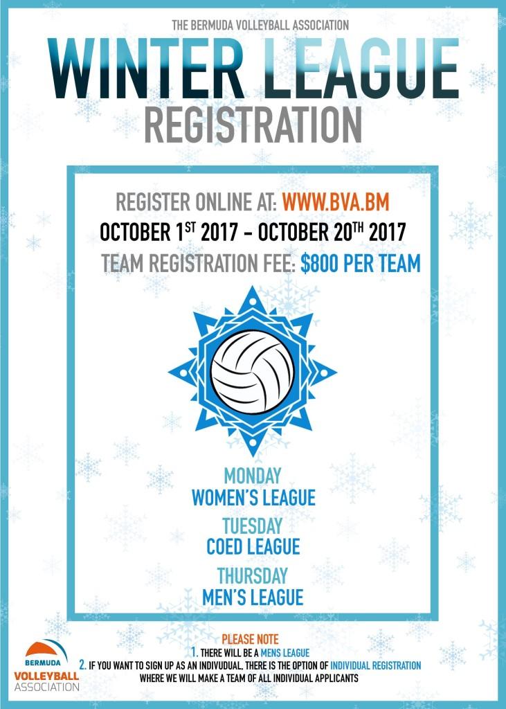 BVA Winter League Registration Poster